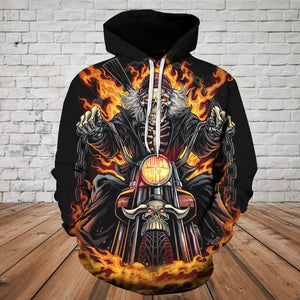 Skull 3D Hoodie - Riding Skeleton Skull