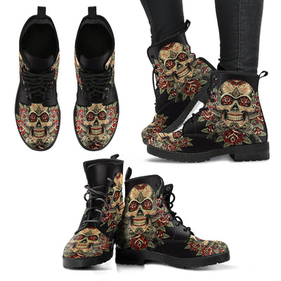 Leather Boots_Skull and Rose