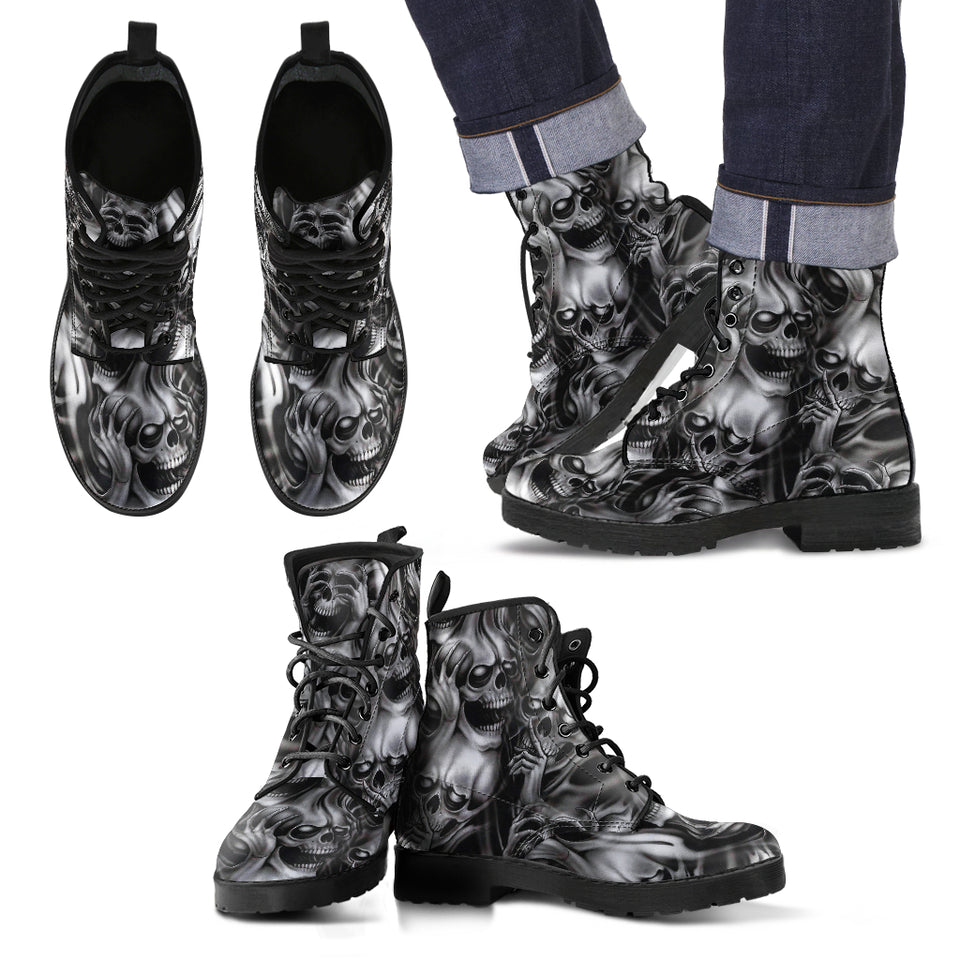 Skull Leather Boot - 01414