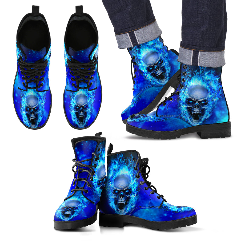 Leather Boots_Blue Skull