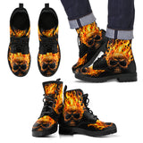 Skull Leather Boots - Fire Skull 0559