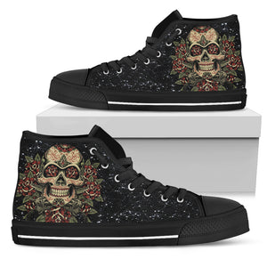 Skull High Top Shoes - Skull  Roses and Gun 0489