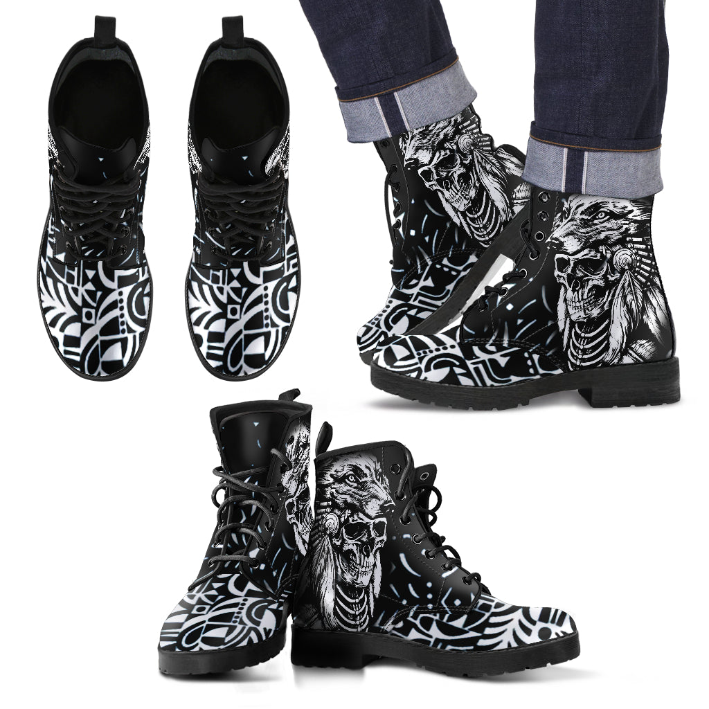 Leather Boots_Indian Wolf Skull