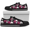 Women's Low Top Shoes_White Skull and Flower