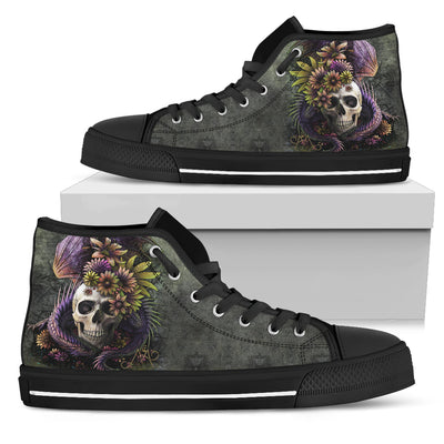 SKull High Top Shoes_Dragon and Flower