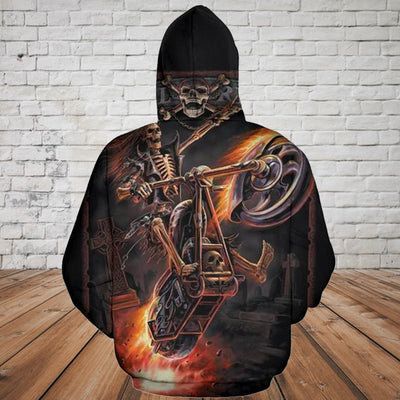 Skull 3D Hoodie_Riding Skeleton Skull