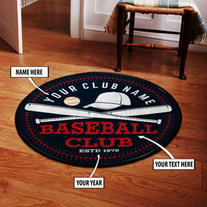 Personalized Baseball club badge Round Mat 07658