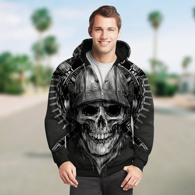 3D Zip Hoodie_Black and White Skull