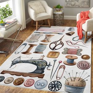 Vintage Sewing Room Decor Area Rug 07418