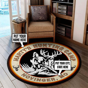 Personalized Hunting Camp Round Mat 06414