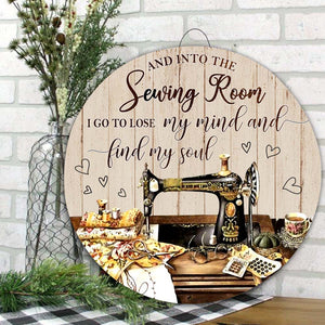 Sewing Room Decor Round Wooden sign 07402 [US Shipping Only]