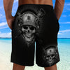 3D Shorts_Black and White Skull