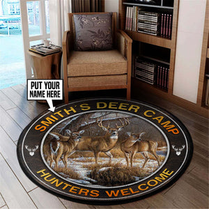 Personalized Deer Camp Hunting Round Mat 06409