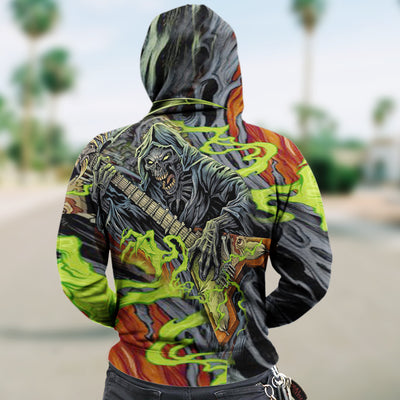 3D Zip Hoodie_Skull Grim Reaper and Guitar