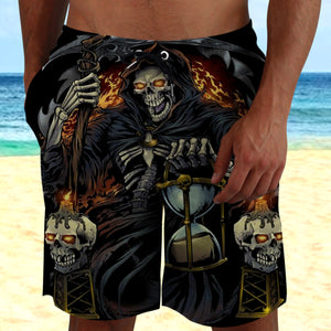 Skull 3D Shorts_Grim Reaper with Hourglass