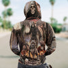 Skull 3D Zip Hoodie_Grim Reaper with Dogs