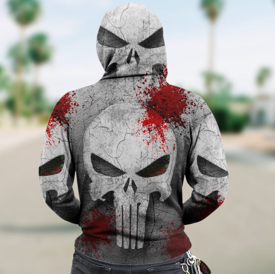 Skull 3D Zip Hoodie_The Punisher