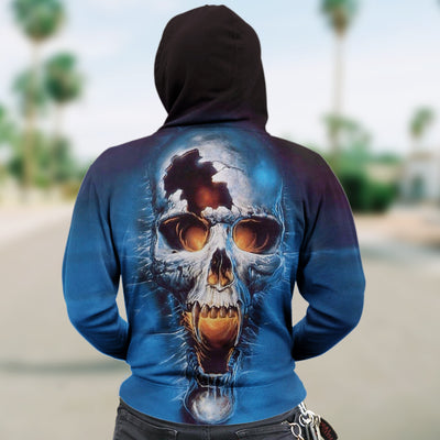 Skull 3D Zip Hoodie_Blue Screaming Skull