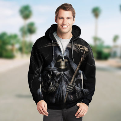 Skull 3D Zip Hoodie_The Grim Reaper is waiting