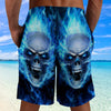 Skull 3D Shorts_Blue Flaming Skull