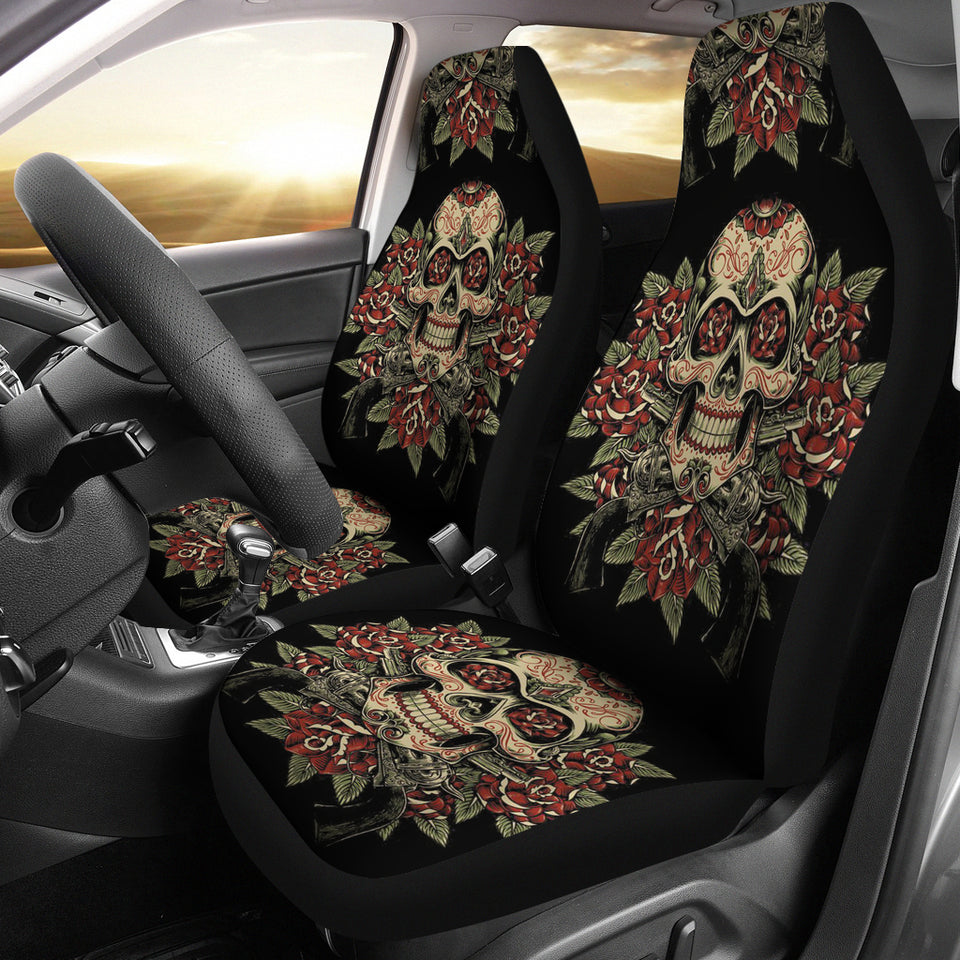 Car Seat Covers_Skull, Gun and Roses