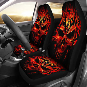 Skull Car Seat Covers_Red Fire Skull 0332