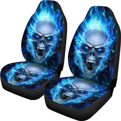 Car Seat Covers_Blue Flame Skull