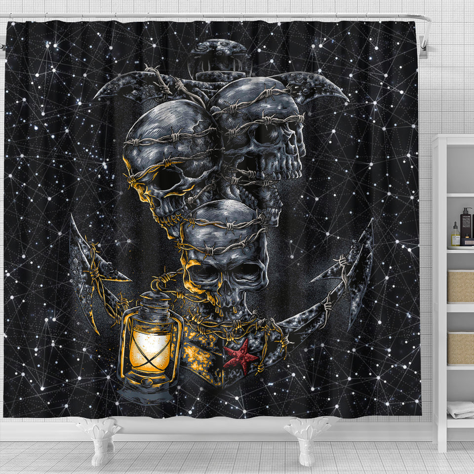 Skull Shower Curtain_Skull Anchor
