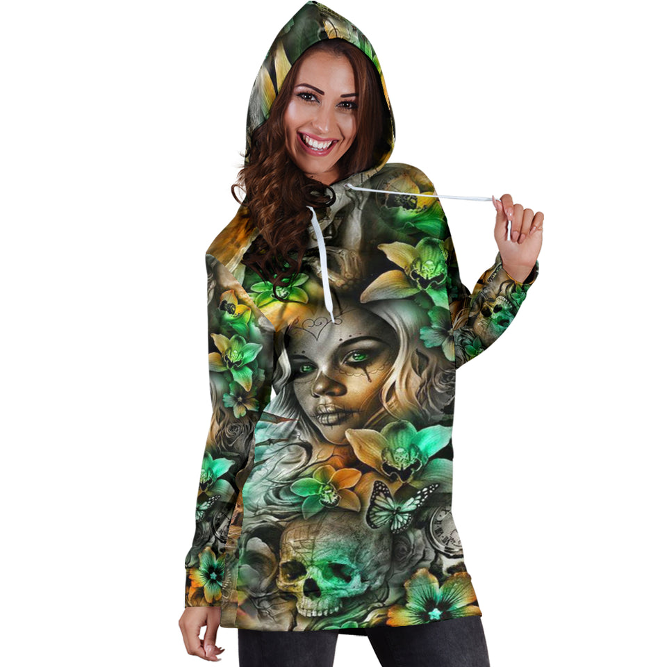 Hoodie Dress_Green Skull Girl