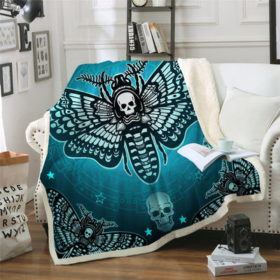 Skull Gothic Butterfly Sherpa Throw Blanket Gothic
