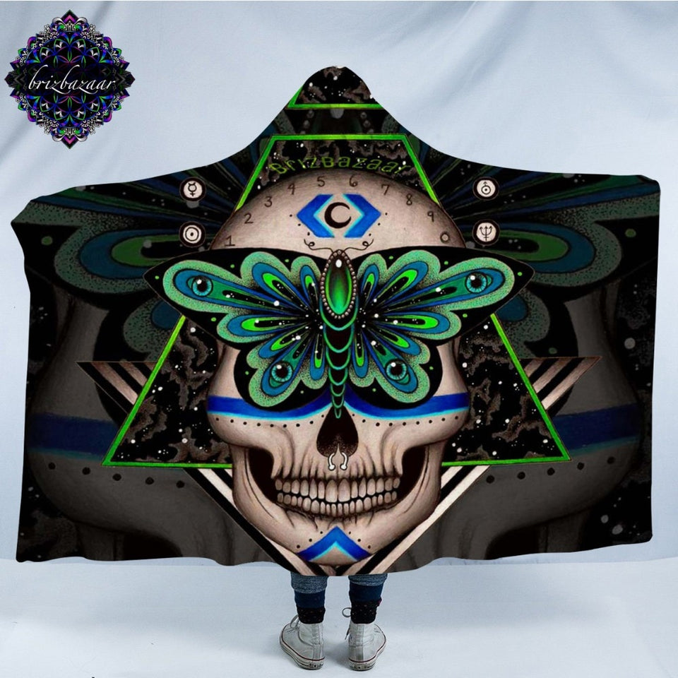 Prophecies by Brizbazaar Hooded Blanket Gothic Skull Sherpa Wearable Blanket Green Butterfly Throws Geometric Abstract Bedding