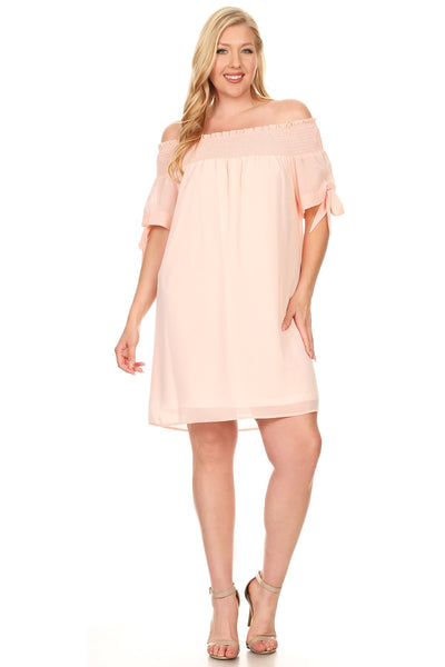 Peach or Gray Smocked Off-Shoulder Dress- Plus Size