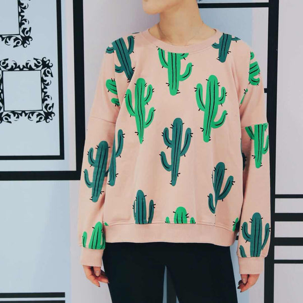 Little Alien Kid Adult Cactus Oversized Sweatshirt