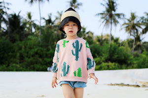 Little Alien Kid Cactus Oversized Sweatshirt