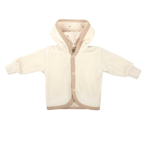 Wooly Organic Baby Velour Jacket with Hoodie - White Color