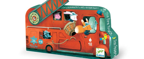 DJECO MINI SILHOUETTE PUZZLES - THE FIRE TRUCK - 16PCS