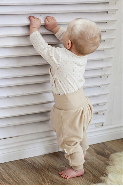 Wooly Organic Baby trousers  - Brown color (Velour fabric)