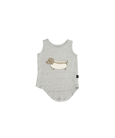 HB762Hot Doggy Singlet- Grey Marle