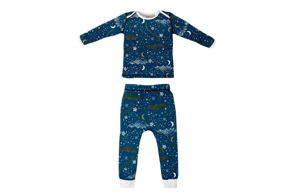 Organic Cotton Two Piece PJ Set – Stars Blue
