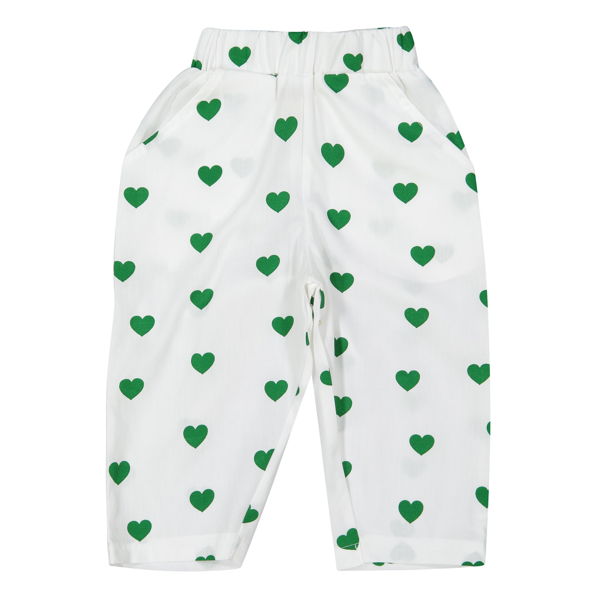 Tulip Pants - Green Hearts