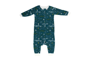 Organic Cotton Long Sleeve Sleep Suit-Star Blue 1.0 Tog