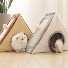 Triangle Cat Tent With Ball and Scratcher