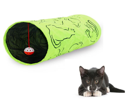 Pet Tunnel Green Printed Cat