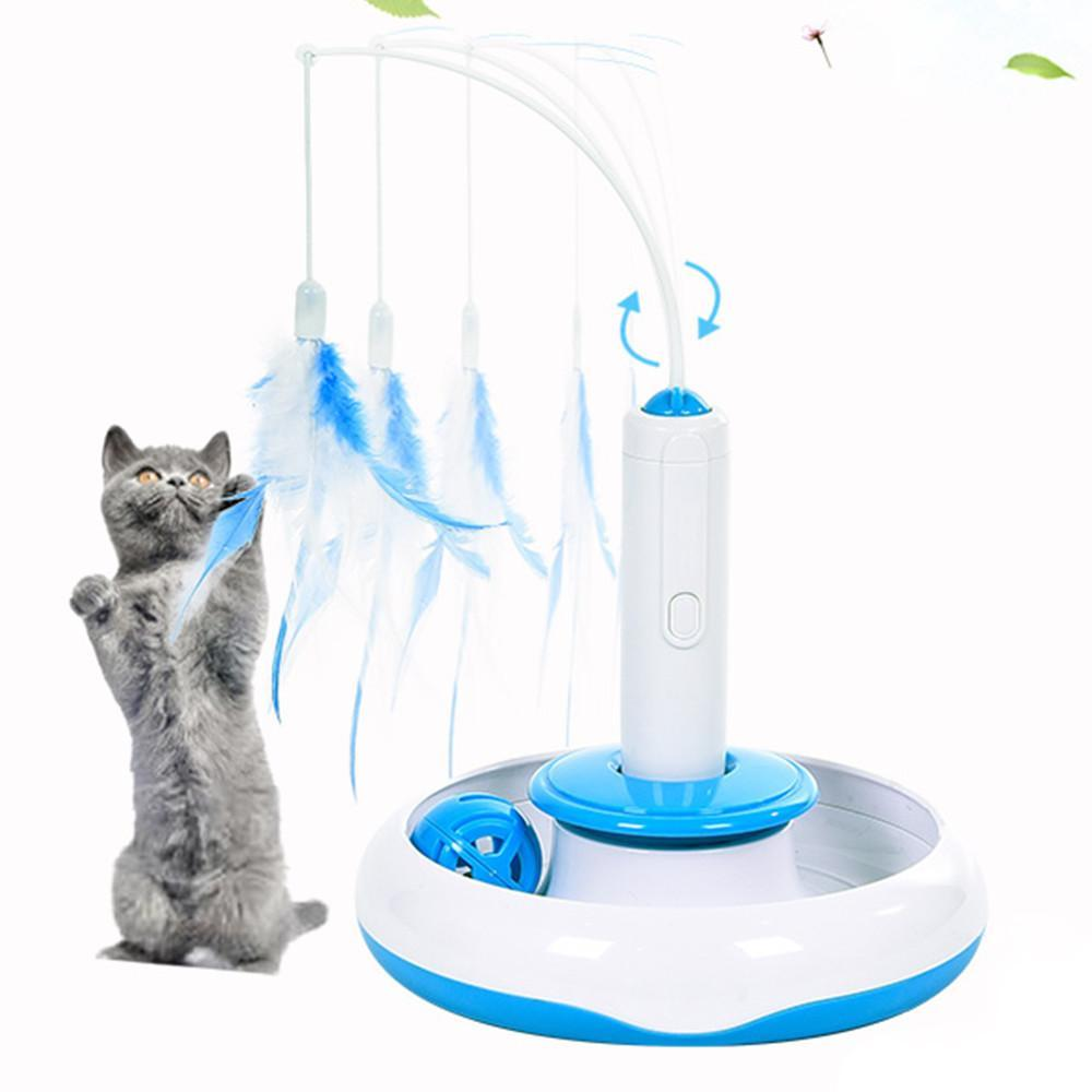 Electronic Rotate Interactive Cat Feather Toy