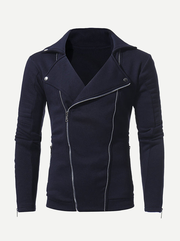 Asymmetric Zip Lapel Rocker Jacket