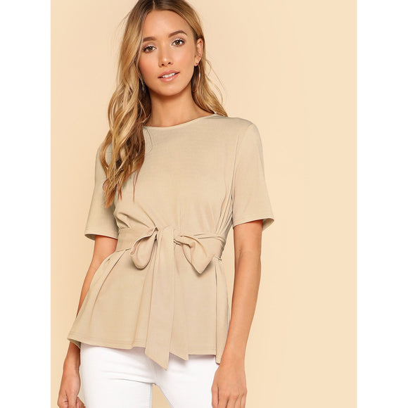 Keyhole Back Self-Tie Khaki Blouse - IG Studio
