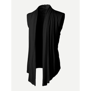 Black Ruffle Front Sweater Vest