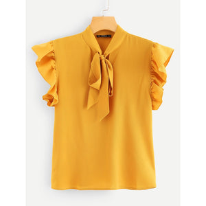 Neck Tie Gold Chiffon Blouse