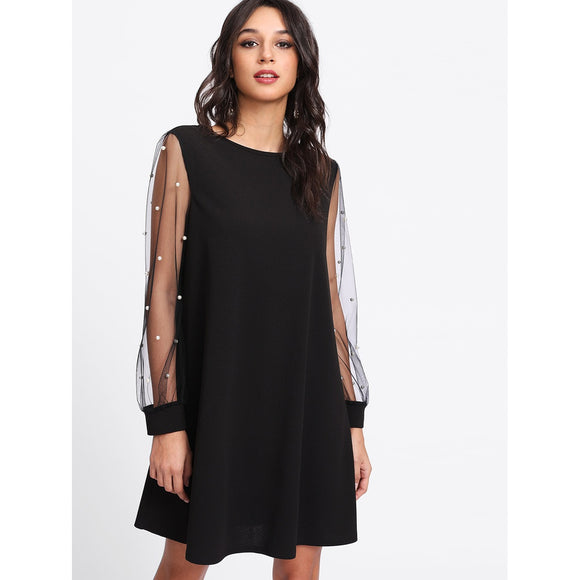 Pearl Beaded Sleeve Onyx Mini Cocktail Dress