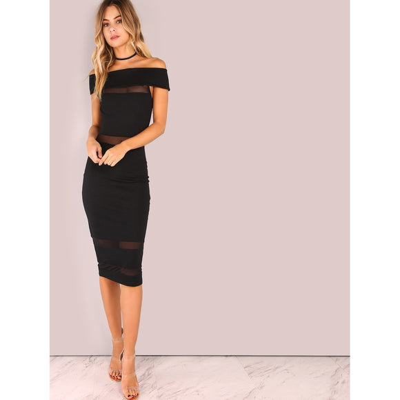 Black Sheer Panel Skinny Cocktail Dress - IG Studio
